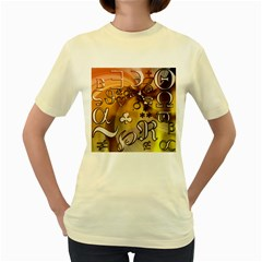 Symbols On Gradient Background Embossed Women s Yellow T Shirt