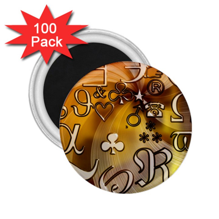 Symbols On Gradient Background Embossed 2.25  Magnets (100 pack)