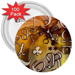 Symbols On Gradient Background Embossed 3  Buttons (100 Pack)