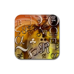 Symbols On Gradient Background Embossed Rubber Coaster (square)