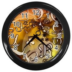 Symbols On Gradient Background Embossed Wall Clocks (black)