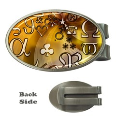 Symbols On Gradient Background Embossed Money Clips (oval)