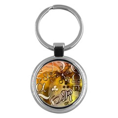 Symbols On Gradient Background Embossed Key Chains (round)