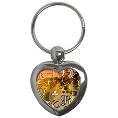 Symbols On Gradient Background Embossed Key Chains (heart)