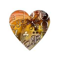 Symbols On Gradient Background Embossed Heart Magnet