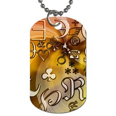 Symbols On Gradient Background Embossed Dog Tag (two Sides)