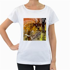 Symbols On Gradient Background Embossed Women s Loose Fit T Shirt (white)
