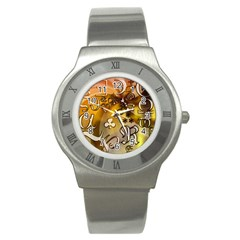 Symbols On Gradient Background Embossed Stainless Steel Watch