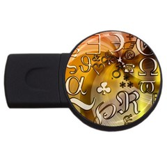 Symbols On Gradient Background Embossed USB Flash Drive Round (4 GB)