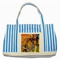 Symbols On Gradient Background Embossed Striped Blue Tote Bag