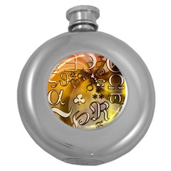 Symbols On Gradient Background Embossed Round Hip Flask (5 Oz)