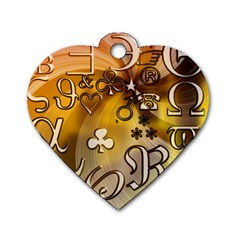 Symbols On Gradient Background Embossed Dog Tag Heart (one Side)