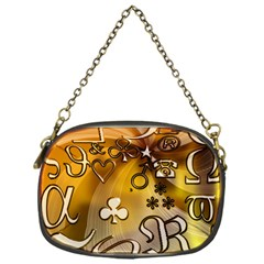 Symbols On Gradient Background Embossed Chain Purses (One Side)