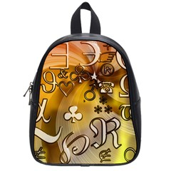 Symbols On Gradient Background Embossed School Bags (small)