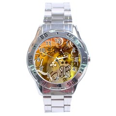 Symbols On Gradient Background Embossed Stainless Steel Analogue Watch