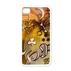 Symbols On Gradient Background Embossed Apple Iphone 4 Case (white)
