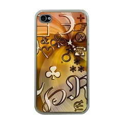Symbols On Gradient Background Embossed Apple Iphone 4 Case (clear)