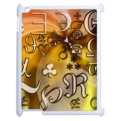 Symbols On Gradient Background Embossed Apple Ipad 2 Case (white)