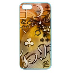 Symbols On Gradient Background Embossed Apple Seamless iPhone 5 Case (Color)
