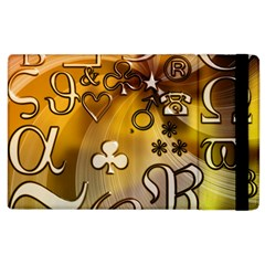 Symbols On Gradient Background Embossed Apple Ipad 2 Flip Case