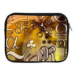Symbols On Gradient Background Embossed Apple Ipad 2/3/4 Zipper Cases