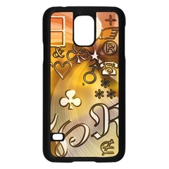 Symbols On Gradient Background Embossed Samsung Galaxy S5 Case (black)