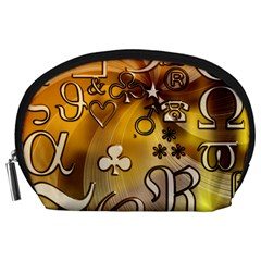 Symbols On Gradient Background Embossed Accessory Pouches (large)