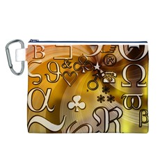 Symbols On Gradient Background Embossed Canvas Cosmetic Bag (l)