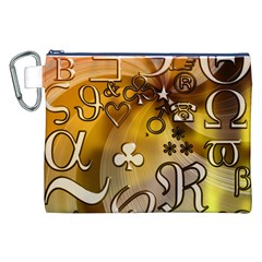 Symbols On Gradient Background Embossed Canvas Cosmetic Bag (XXL)