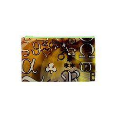 Symbols On Gradient Background Embossed Cosmetic Bag (xs)