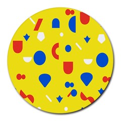 Circle Triangle Red Blue Yellow White Sign Round Mousepads