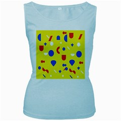 Circle Triangle Red Blue Yellow White Sign Women s Baby Blue Tank Top