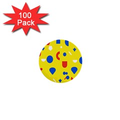 Circle Triangle Red Blue Yellow White Sign 1  Mini Buttons (100 pack)
