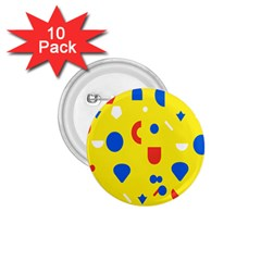 Circle Triangle Red Blue Yellow White Sign 1.75  Buttons (10 pack)