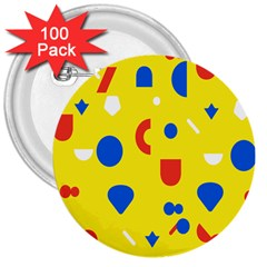 Circle Triangle Red Blue Yellow White Sign 3  Buttons (100 pack)