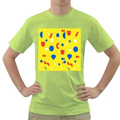 Circle Triangle Red Blue Yellow White Sign Green T Shirt