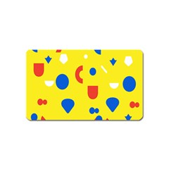 Circle Triangle Red Blue Yellow White Sign Magnet (Name Card)