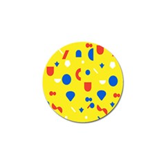 Circle Triangle Red Blue Yellow White Sign Golf Ball Marker (4 Pack)