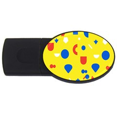 Circle Triangle Red Blue Yellow White Sign Usb Flash Drive Oval (2 Gb)