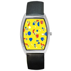 Circle Triangle Red Blue Yellow White Sign Barrel Style Metal Watch