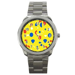 Circle Triangle Red Blue Yellow White Sign Sport Metal Watch
