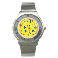 Circle Triangle Red Blue Yellow White Sign Stainless Steel Watch