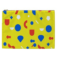 Circle Triangle Red Blue Yellow White Sign Cosmetic Bag (XXL)