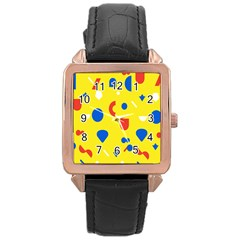 Circle Triangle Red Blue Yellow White Sign Rose Gold Leather Watch
