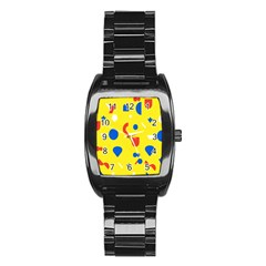 Circle Triangle Red Blue Yellow White Sign Stainless Steel Barrel Watch
