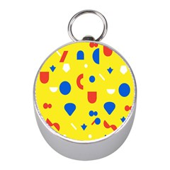 Circle Triangle Red Blue Yellow White Sign Mini Silver Compasses