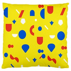 Circle Triangle Red Blue Yellow White Sign Large Flano Cushion Case (two Sides)