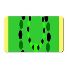 Circular Dot Selections Green Yellow Black Magnet (Rectangular)
