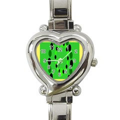 Circular Dot Selections Green Yellow Black Heart Italian Charm Watch