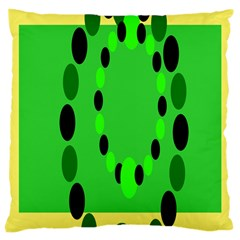 Circular Dot Selections Green Yellow Black Large Cushion Case (One Side)